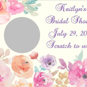 10 Watercolor Floral Bridal Shower Scratch Off Game Cards