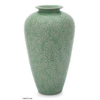 NOVICA Green Ceramic Floral Vase From Thailand 'Potter's Boundary'