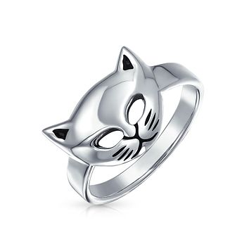 Cat Lovers Pet Face Kitten Kitty Cat Ring For Teen 925 Sterling Silver