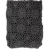 Grey Fleur Crochet Throw Blanket