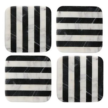 Thirstystone Stripe Square Marble Coasters (Set of 4) | Nordstrom