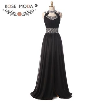 Halter Black Floor Length Prom Dress with Front Slit Sleeveless Sequined Cross Back Formal Party Dress Real Photos