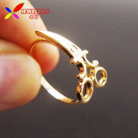 2016 New Fashion Designer Novalty Lovely Gold Silver Metal Scissors finger Rings for Women conjuntos de anillo