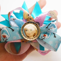 Once Upon A time Fairytale Frozen Elsa and Anna Boutique Stacked Hairbow