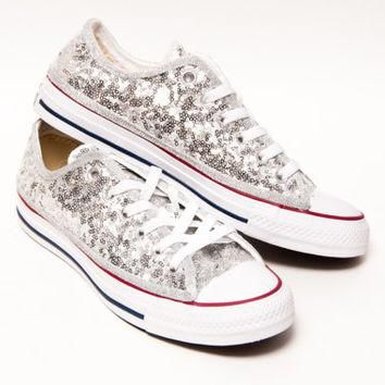 Tiny Sequin - Silver Canvas Converse All Star Low Top Sneakers Shoes