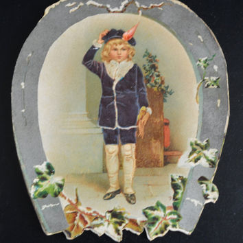 Victorian Christmas Card, Victorian Booklet Card, Holiday Card, Horseshoe Shaped Card, Mackay Card, Antique Christmas Card