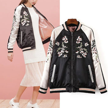 Autumn Floral Embroidery Long Sleeve Jacket [6332319236]