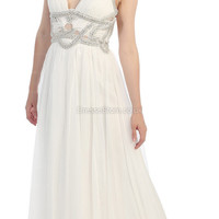 A-line Straps Chiffon Floor-length White Beading Evening Dress at dressestore.co.uk