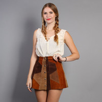60s SUEDE MINI SKIRT / Leather Brown Patchwork Mini, xs