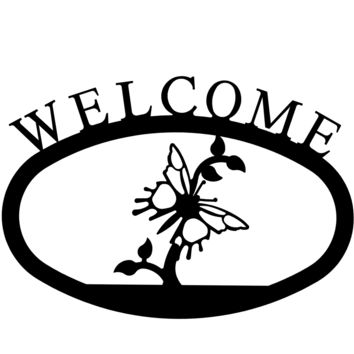 Wrought Iron Butterfly Welcome Home Sign Small