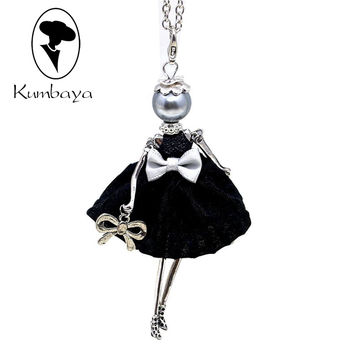 Hot Sale Cute Yarn Cloth Bowknot Dress Doll Necklace Women Jewelry stores Christmas Gifts Jewelry Accessories Top-rated NS059