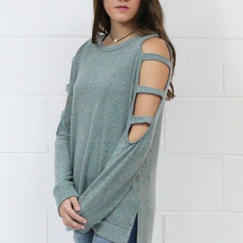 Cold Shoulder Cutout Sleeves Brushed Knit {Mint}
