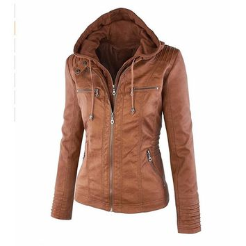Women's Hooded Faux Leather Jacket with Plus Sizes