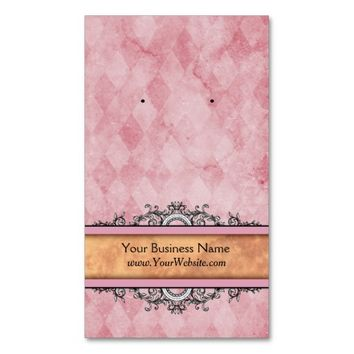 Custom Earring Cards Pink Vintage Business Cards