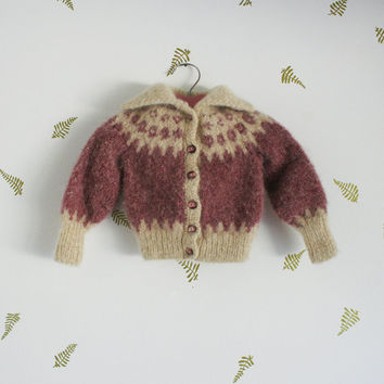 vintage 80s girls nordic cardigan / mohair wool blend / rose + cream / heart knit / scandinavian / sweater / 2 - 4