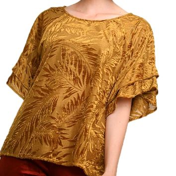 Umgee Velvet Print Ruffle Sleeve Top Golden Yellow