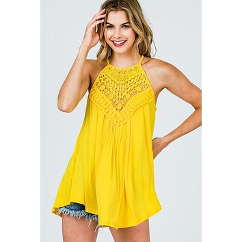 Lace Halter Top - Yellow