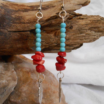 Gemstone Earrings, Turquoise and Red Coral, Silver Feather Dangle, Native American, Handmade by Oglala Lakota Artist