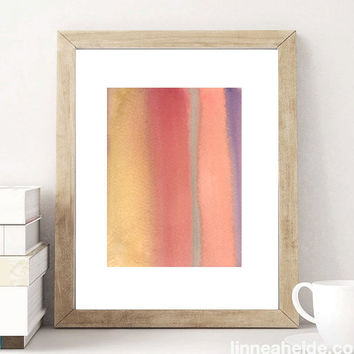 Watercolor Painting - original abstract fine art - abstract expressionism - ombre colorblock - colorful - brown dusty rose blue