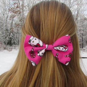 Pink Hello Kitty Christmas Hair Bow
