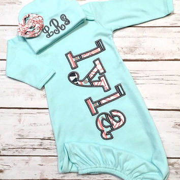 Baby Girl Coming Home Outfit - Newborn Sleeper - Aztec Baby Gown - Baby Shower Gift for Girl - Bring Home Outfit - Name Gown gray mint