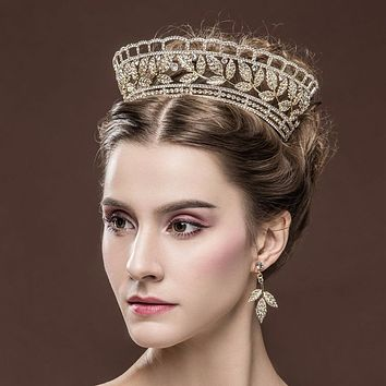 Gold Leaf Cubic Zirconia Bride Crown Tiara With Earrings Gorgeous