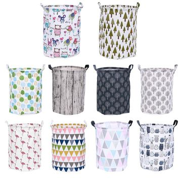 Folding Laundry Storage Basket Geometry Storage Barrel Standing Toys Clothing Storage Bucket Sundries Organizer Holder Pouch