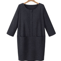 Long Sleeve Double Front Pocket Tunic Dress