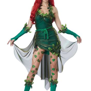 Cool Women's Batman Poison Ivy Lethal Beauty Costume Halloween Cosplay Fancy DressAT_93_12