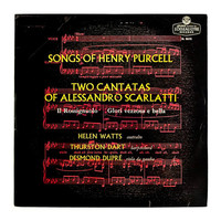 "Typographic record album design, 1957. ""Songs of Henry Purcell / Two Cantatas of Alessandro Scarlatti"" LP"