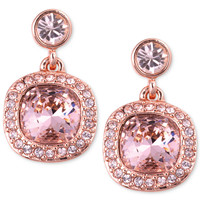 Givenchy Earrings, Rose Gold-Tone Swarovski Light Pink Stone Drop Earrings