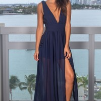 Navy Pleated Maxi Dress with Embroidered Sides