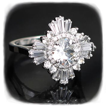 Stunning White Sapphire Ring - Art Deco, Great Gatsby, custom made, engagement/special occasion, cocktail