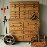 Large Antique Farmhouse Industrial Tool Chest of Drawers