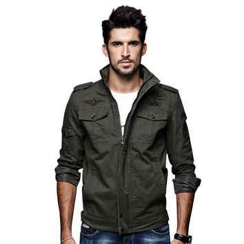 New men's green khaki 3 color uniform jacket winter casual men's jacket military wind clothing jacket coat