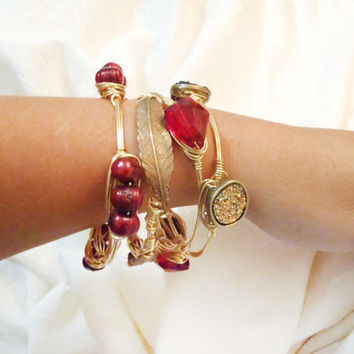 Garnet Freshwater Pearls On Wire Wrapped Bangle -  Deep Red Freshwater Pearls On Solid Brass Non-Tarnish Wire