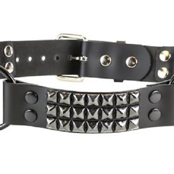 "3-Row Black Pyramid Stud & 1-1/4"" O Rings Black Leather Belt"