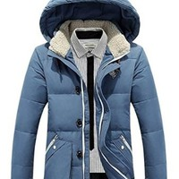 Bininbox men's Hooded Down Parka Jacket with Zipper front pockets