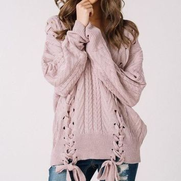 Olwen Lace Up Sweater - Mauve -