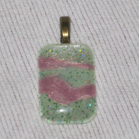 Nail Polish Jewelry, Hand Painted Domed Glass Cabochon Pendant, OOAK Pink, Green and Antique Bronze Pendant, Abstract Design, Patel Hues