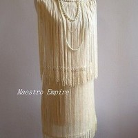 Art Deco 1920s Pearl Double Side Vintage Flapper Fringe Gatsby Charleston Dress