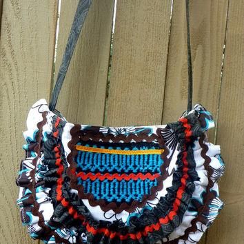Hobo, cross body, handbag, tote,  tribal, ethnic,, vintage woven fabric, anthropology inspired