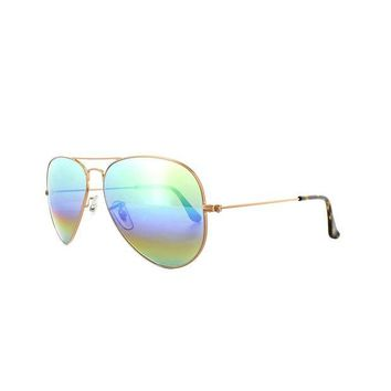 Kalete Ray-Ban Sunglasses Aviator Mineral Flash 3025 9018C3 Bronze Copper Green Rainbow