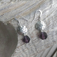 Silver and purple dangle earrings. Fashion earrings. Purple Crystal dangle.