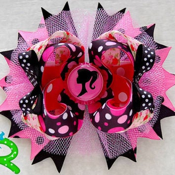 Barbie ott bow, cute boutique hair bow, pink ribbon stacked bow