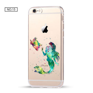 Little Mermaid Color Clear Soft Disney Phone Case For iPhone 7 7Plus 6 6s Plus 5 5s SE C