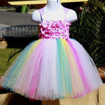Girls Kids Party Rainbow Tutu Dress Handmade Mesh Tulle Flower Girl Dress Costumes Wedding Easter Dress