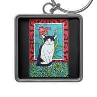Adorable Black and White cat with Art Deco Design Keychain