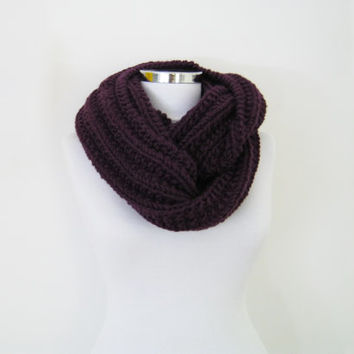 Chunky knit scarf, purple winter scarf