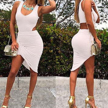 White Cut Out Sleeveless Dress